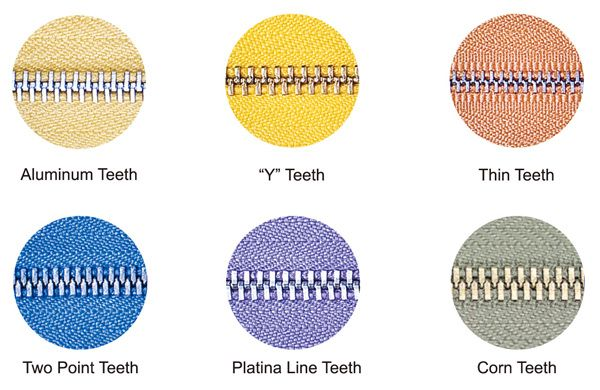 metal zipper teeth type