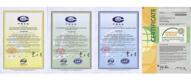 fermuar sertifikası