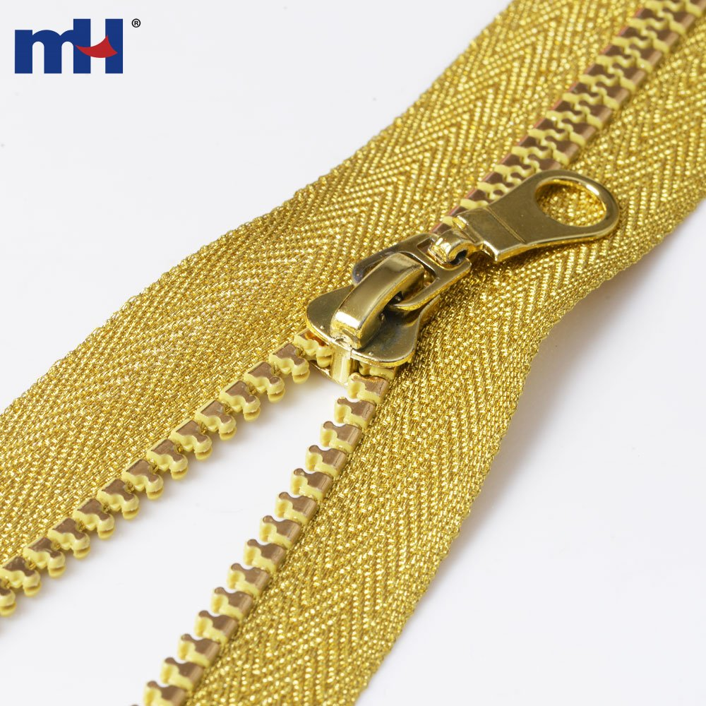 #5 Plastic Golden Teeth & Tape Jacket Zipper
